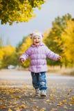愉快的嬉戏的婴孩在秋天公园 库存照片