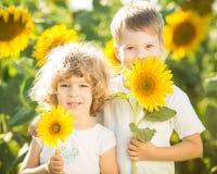愉快的子项用向日葵 免版税图库摄影