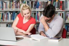 愉快的学生与膝上型计算机一起使用在图书馆里 库存照片