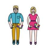 愉快的学生的夫妇 免版税库存照片