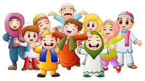愉快的孩子为Eid穆巴拉克庆祝 皇族释放例证
