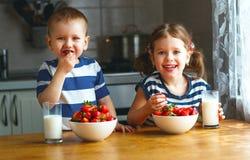 愉快的孩子吃草莓用牛奶的兄弟和姐妹 库存照片