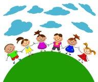 愉快的孩子向量 免版税库存照片