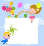 愉快的孩子和横幅 免版税库存照片