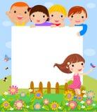 愉快的孩子和横幅 免版税库存图片