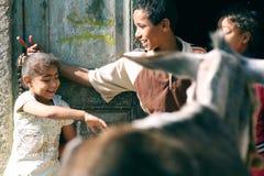 愉快的孩子在埃及 免版税库存图片