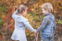 愉快的孩子室外在秋季,握手 有日期 库存照片