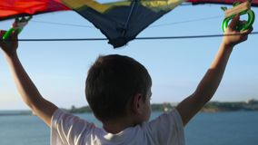 愉快的孩子有玩具飞机背面图 获得的孩子乐趣户外 使用在夏天的孩子 反对蓝天背景的孩子 影视素材