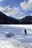 愉快的孩子步行在冻美丽的湖 免版税库存照片