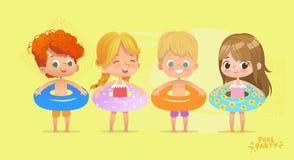愉快的孩子生日时间游泳场假期 滑稽的女孩和男孩泳装的 与热带的Lifebuoy的水比赛 皇族释放例证