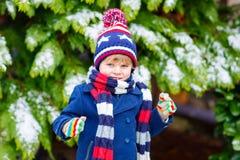 愉快的孩子男孩获得与雪的乐趣在冬天 免版税库存图片