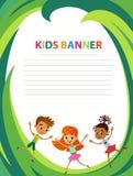 愉快的孩子的汇集用不同的位置 向量例证