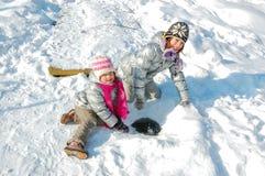 愉快的孩子获得乐趣在冬天 库存照片