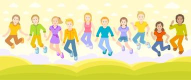 愉快的孩子跳,晴朗的领域 免版税图库摄影
