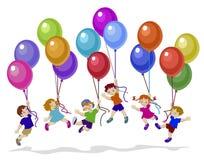 愉快的孩子飞行气球的传染媒介例证一起 向量例证