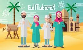 愉快的家庭为与清真寺、鼓和沙漠背景的eid穆巴拉克庆祝 皇族释放例证