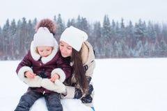 愉快的家庭享受冬天多雪的天 免版税库存照片