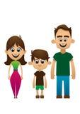 愉快的家庭传染媒介人女儿 免版税库存照片