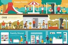 愉快的家庭儿童晚餐平展内部室外概念网 向量例证