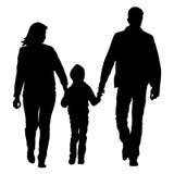 愉快的家庭剪影在白色背景的 也corel凹道例证向量 库存照片