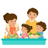 愉快的家庭厨师健康食物一起漫画人物 图库摄影