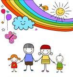 愉快的家庭和彩虹 免版税库存照片
