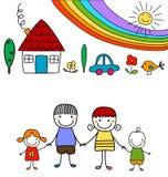 愉快的家庭和彩虹 库存例证