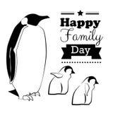 愉快的家庭天背景印刷术和字法与企鹅 库存图片