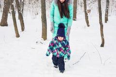 愉快的家庭母亲和儿童小女儿在一个冬天在森林走 免版税库存照片