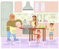 愉快的家庭烹调 向量例证