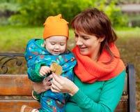 愉快的家庭获得乐趣在秋天公园 免版税库存图片