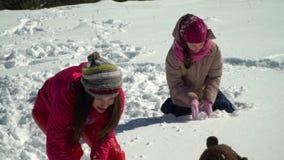 愉快的家庭获得使用的乐趣在山的一个多雪的森林在冬天 妈妈和她的两儿童投掷雪球 影视素材