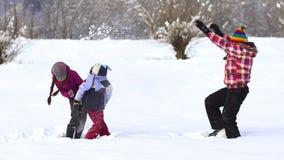 愉快的家庭获得使用的乐趣在雪 股票视频