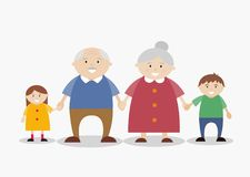 愉快的家庭,有孙的祖父母 库存例证