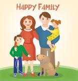 愉快的家庭-有孩子和狗的父母 免版税库存图片