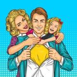 愉快的家庭-超级爸爸、母亲和女儿 向量例证