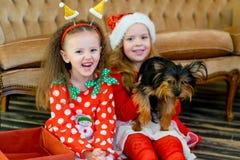 愉快的小女孩和狗在圣诞节 免版税图库摄影