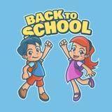 愉快的小女孩和男孩回到学校 图库摄影