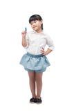 愉快的小女孩图画或文字某事,隔绝 免版税库存照片