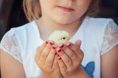 愉快的小女孩在他的手上拿着一只鸡 有波尔的孩子 免版税库存照片