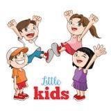 愉快的小孩动画片,传染媒介例证 免版税图库摄影