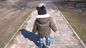 愉快的小孩,笑和使用在公园步行的秋天的男婴户外 股票录像