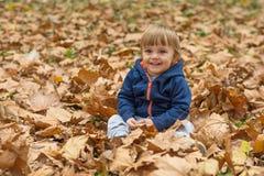愉快的小孩,笑和使用在秋天的男婴 免版税图库摄影