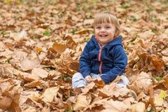 愉快的小孩,笑和使用在秋天的男婴 免版税库存图片