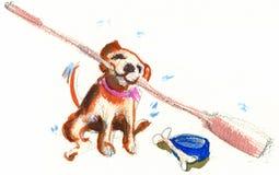 愉快的小狗 免版税库存照片