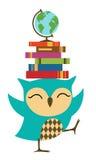 愉快的小猫头鹰-回到学校 免版税库存照片
