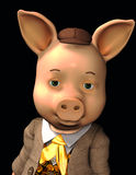 愉快的小的猪纵向 库存图片