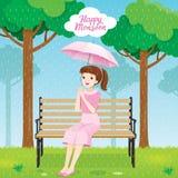 愉快的少妇在伞下坐长凳在公园 向量例证