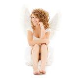 愉快的少年天使女孩 免版税库存照片