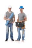 愉快的工程师和建造者工作员 库存图片